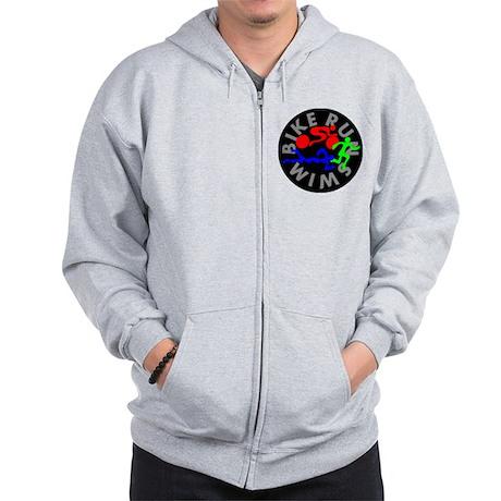 Triathlon Color Figures FLAT Zip Hoodie