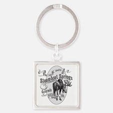 Steamboat Springs Vintage Moose Square Keychain