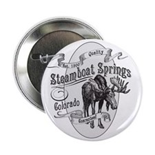 """Steamboat Springs Vintage Moose 2.25"""" Button"""