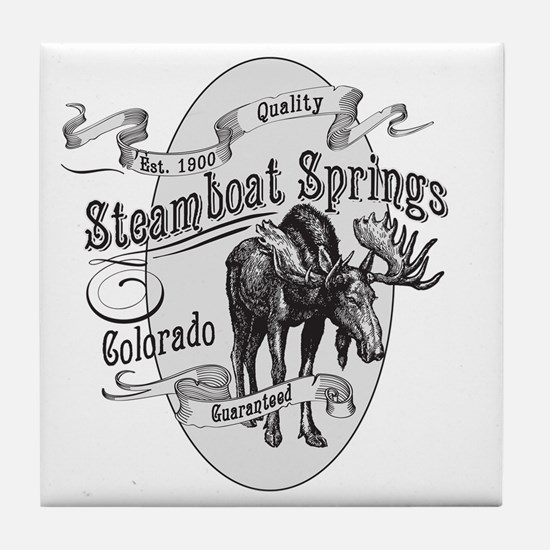 Steamboat Springs Vintage Moose Tile Coaster