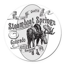 Steamboat Springs Vintage Moose Round Car Magnet