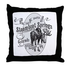Steamboat Springs Vintage Moose Throw Pillow
