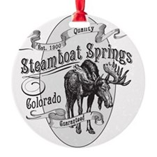 Steamboat Springs Vintage Moose Round Ornament