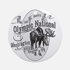 Olympic National Vintage Moose Round Ornament