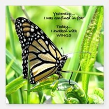 "Thinking Butterfly Square Car Magnet 3"" x 3"""