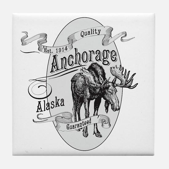Anchorage Vintage Moose Tile Coaster