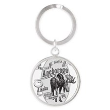 Anchorage Vintage Moose Round Keychain