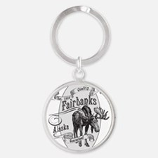 Fairbanks Vintage Moose Round Keychain