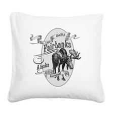 Fairbanks Vintage Moose Square Canvas Pillow
