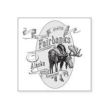 "Fairbanks Vintage Moose Square Sticker 3"" x 3"""