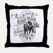 Grand Teton Vintage Moose Throw Pillow
