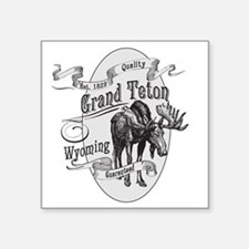 "Grand Teton Vintage Moose Square Sticker 3"" x 3"""