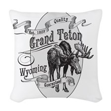 Grand Teton Vintage Moose Woven Throw Pillow