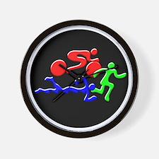Triathlon Color Figures 3D Wall Clock