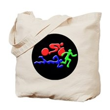 Triathlon Color Figures 3D Tote Bag