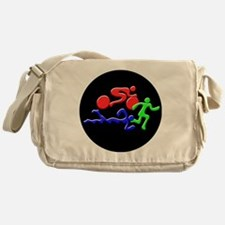 Triathlon Color Figures 3D Messenger Bag
