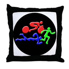 Triathlon Color Figures 3D Throw Pillow
