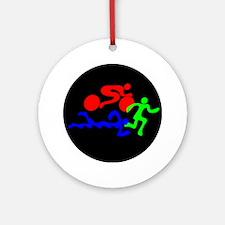 Triathlon Color Figures FLAT Round Ornament