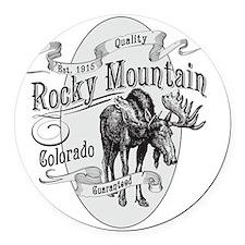 Rocky Mountain Vintage Moose Round Car Magnet