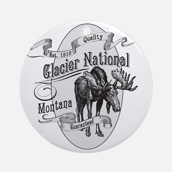 Glacier National Vintage Moose Round Ornament