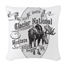 Glacier National Vintage Moose Woven Throw Pillow