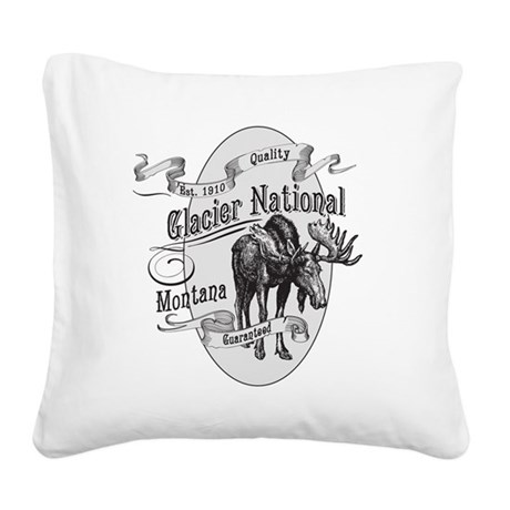 Glacier National Vintage Moos Square Canvas Pillow