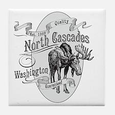North Cascades Vintage Moose Tile Coaster