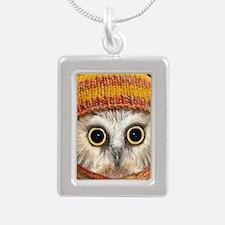 Baby Owl Silver Portrait Necklace