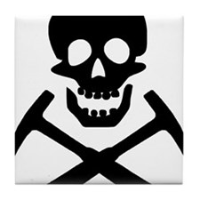 Rockhound Skull Cross Picks Tile Coaster