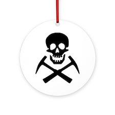 Rockhound Skull Cross Picks Round Ornament