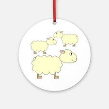 Three Sheep. Round Ornament