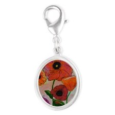 Poppies Silver Oval Charm