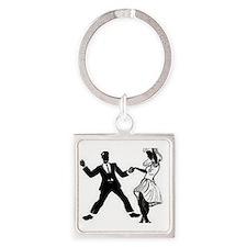 Swing Dancers Square Keychain