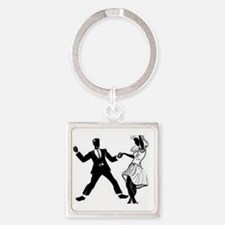 Swing Dancers Square Keychain