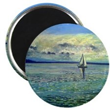 front view of sailboat art Magnet
