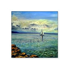 "front view of sailboat art Square Sticker 3"" x 3"""