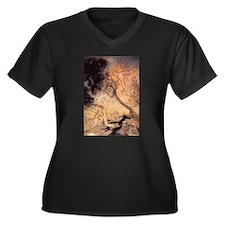 Ariel Women's Plus Size V-Neck Black T-Shirt