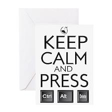 Keep Calm and press control Alt funn Greeting Card