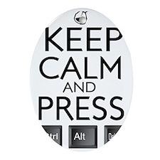 Keep Calm and press control Alt funn Oval Ornament