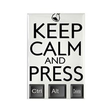 Keep Calm and press control Alt f Rectangle Magnet