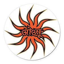Sanskrit Aum Star Round Car Magnet