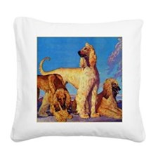 Afghan Hounds Square Canvas Pillow