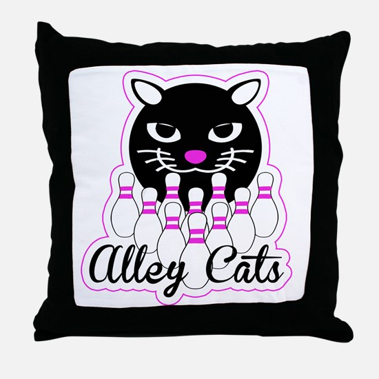 Alley Cat Bowling Throw Pillow