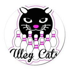Alley Cat Bowling Round Car Magnet