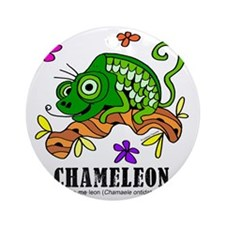 Cartoon Chameleon by Lorenzo Round Ornament