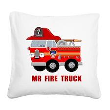 Mr Fire Truck Square Canvas Pillow