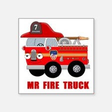 "Mr Fire Truck Square Sticker 3"" x 3"""