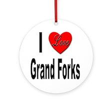 I Love Grand Forks Ornament (Round)