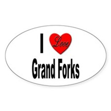 I Love Grand Forks Oval Decal
