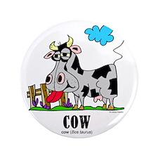 "Cartoon Cow by Lorenzo 3.5"" Button"